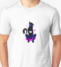 Black Cat Furry Pink Bubbles T-Shirt
