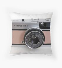 Olympus Trip in pink leather Throw Pillow