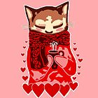 Cozy Cat & Hearts by Abigail Davidson