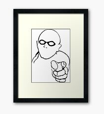 warning superhero Framed Print