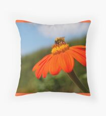 Bee on Orange Flower Throw Pillow