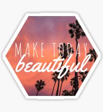 Make today beautiful sunset palm tree surf quote princess print Sticker