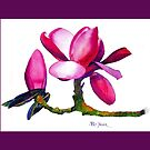 Marwood Spring Magnolia Watercolor Throw Pillow by Pat Yager