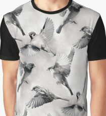 Sparrow Flight - monochrome Graphic T-Shirt