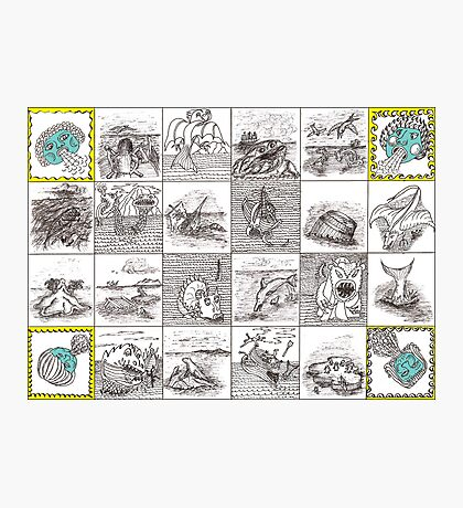 Cartouche and mythical creatures Photographic Print