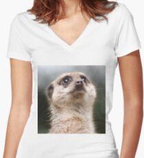 Meerkat Women's Fitted V-Neck T-Shirt