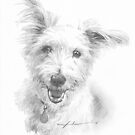 tall-ear white dog drawing by Mike Theuer