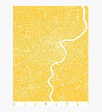 Shanghai map yellow Photographic Print