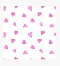 Sweat pink watercolor hearts Photographic Print
