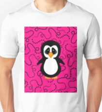 Penguin on Pink and Black Swirling Dots  Unisex T-Shirt