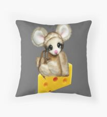 NIBBLES CUTE MOUSE SITTING ON CHEESE CHILDRENS THROW PILLOW Throw Pillow