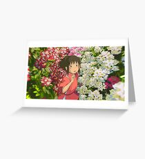 Running through the Flowers - Spirited Away Greeting Card