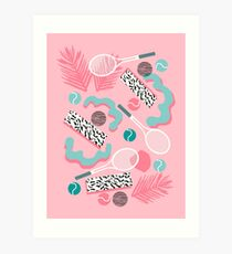 Playa' - tennis sports full court action hipster abstract minimal retro memphis squiggle pattern  Art Print