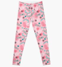 Playa' - tennis sports full court action hipster abstract minimal retro memphis squiggle pattern  Leggings