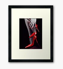 Woman legs in sexy red high heels and stockings art photo print Framed Print