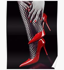 Woman legs in sexy red high heels and stockings art photo print Poster