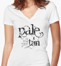 Pale is the New Tan Women's Fitted V-Neck T-Shirt