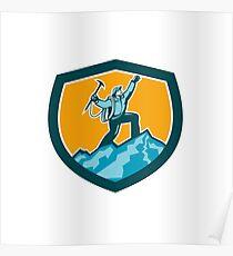 Mountain Climber Reaching Summit Retro Shield Poster