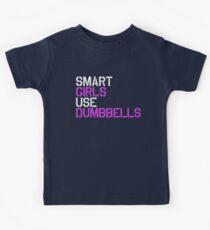 Smart Girls Use Dumbbells (wht/pnk) Kids Tee