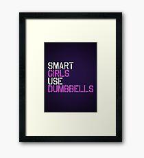 Smart Girls Use Dumbbells (wht/pnk) Framed Print