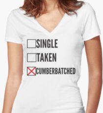 SHERLOCK SINGLE TAKEN CUMBERBATCHED Women's Fitted V-Neck T-Shirt