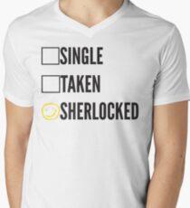 SINGLE TAKEN SHERLOCKED Men's V-Neck T-Shirt