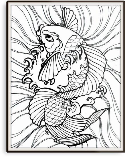 Fantasy Koi Ink Color Page Splashy Tattoo Flash Art\