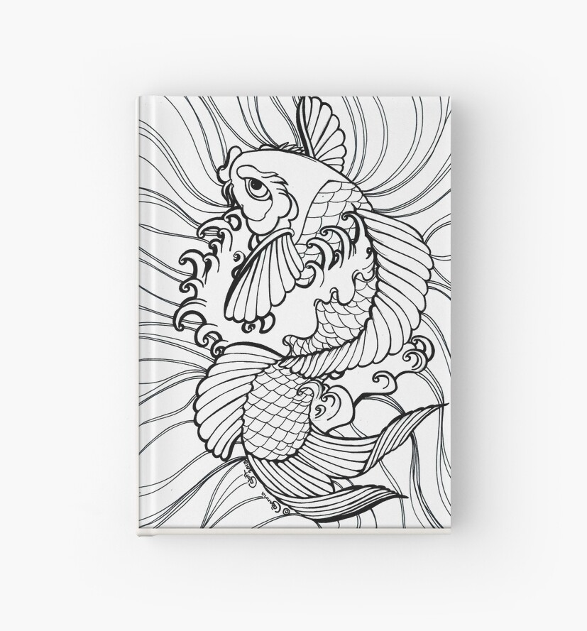 Fantasy Koi Tintenfarbe Seite Splashy Tattoo Flash Art\