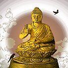 Buddha - throw pillow by Gilberte