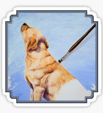 Brushing the Dog - Oil Painting Sticker