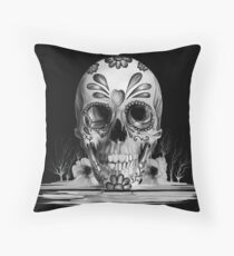 Pulled sugar, melting sugar skull  Throw Pillow