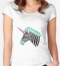 Zebra Einhorn Tailliertes Rundhals-Shirt