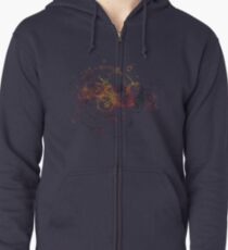 Time Lord Writing (blue) Zipped Hoodie