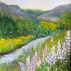 Hiking in the Lupines by Lynda Earley