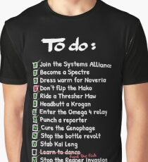 Commander Shepards To-Do List Graphic T-Shirt