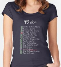 Commander Shepards To-Do List Women's Fitted Scoop T-Shirt