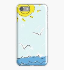 colorful sketch of tropic island iPhone Case/Skin