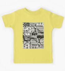 analog synthesizer modular system - black and white illustration Kids Tee
