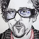 Tim Burton Portrait phone cover by Sarah Horsman