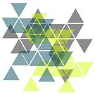 Abstract geometric triangles pattern (yellow, gray, green) by cesarpadilla