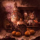 Still Life with Blackberries and Oranges and lilacs by Jeff Burgess