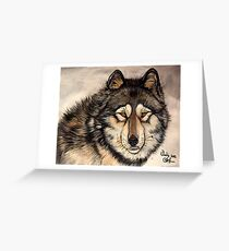 Painted Timber Wolf Artwork  Greeting Card