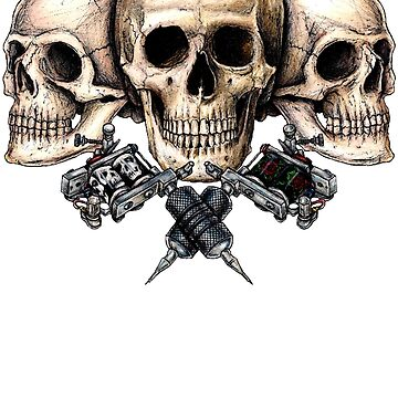 Skull and tattoo machines by eddiehollomon