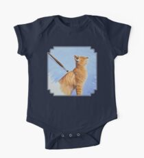 Brushing the Cat - Oil Painting One Piece - Short Sleeve