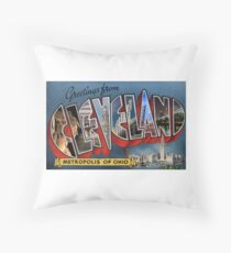 Greetings From Cleveland Throw Pillow