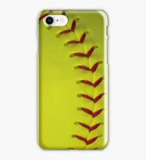 Neon Yellow Softball Stitches iPhone Case/Skin