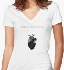 Still He Can't Forget Women's Fitted V-Neck T-Shirt
