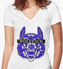 WOLFPACK ATTACK (WHITE) PHII BETA SIGMA - EA Women's Fitted V-Neck T-Shirt
