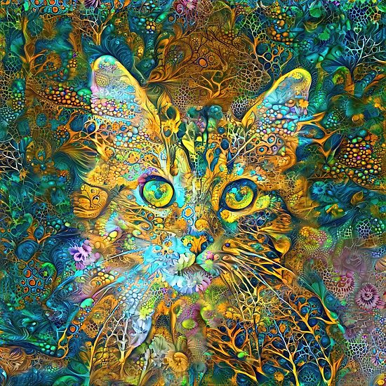 Deepdream floral cat abstraction