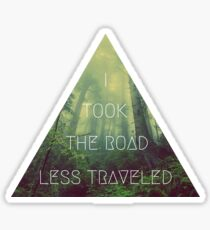 road less traveled nature explore travel redwood book wanderlust print Sticker